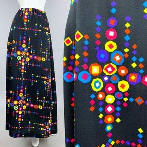 L/XL Vintage 70s Psychedelic Maxi Skirt *$ FIRM*